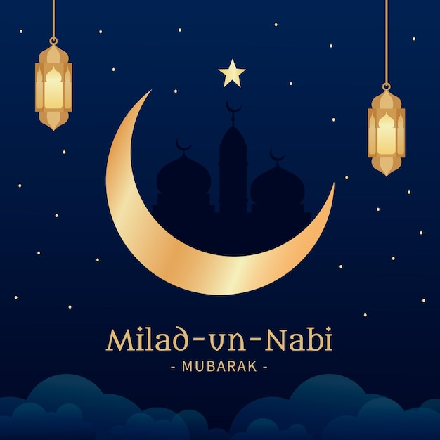 Mawlid milad-un-nabi greeting background with lanterns and moon Free Vector