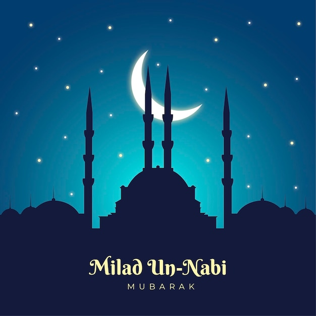 Mawlid milad-un-nabi greeting background with mosque and moon Free Vector