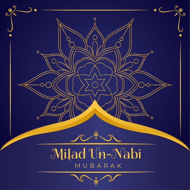 Mawlid milad-un-nabi greeting background Premium Vector