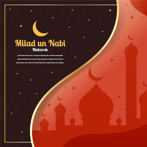 Mawlid milad-un-nabi greeting with mosque and moon Premium Vector