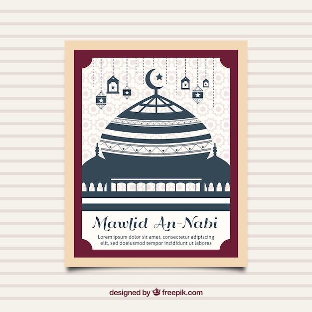 Mawlid mosque card Premium Vector