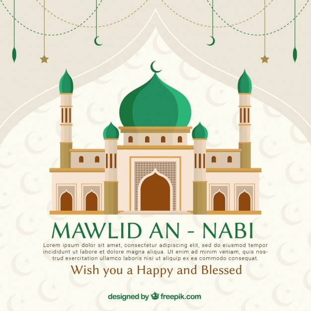 Mawlid an nabi background with mosque Premium Vector