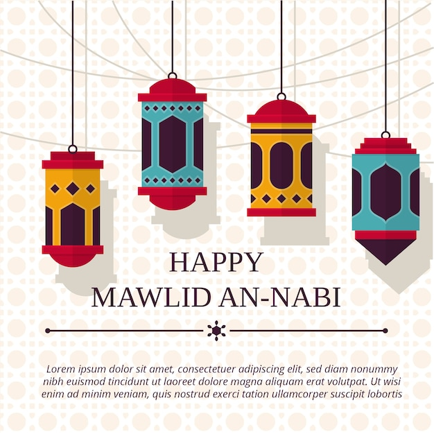 Mawlid an-nabi background Premium Vector