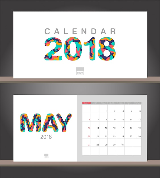 May Calendar Vector : May calendar desk modern design template