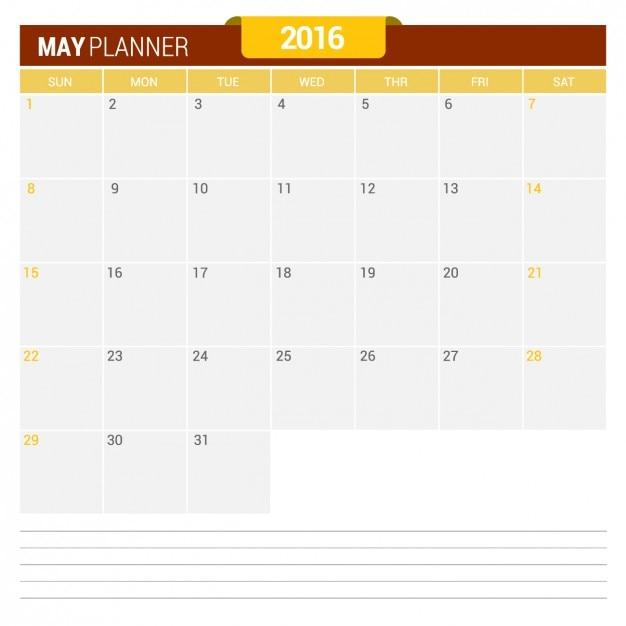 May Calendar 2016