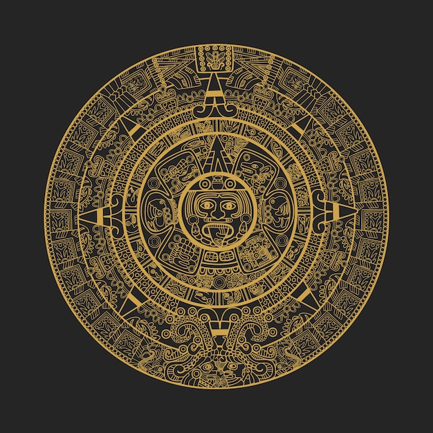 Calendario Maya Vector.Maya Aztec Calendar Vector Premium Download