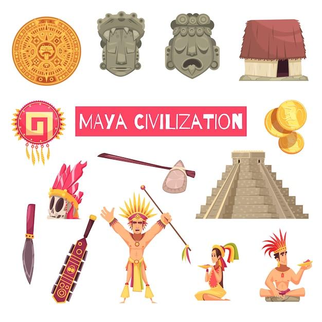 Set di civiltà maya Vettore gratuito