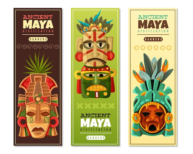 Maya civilization vertical banners Free Vector