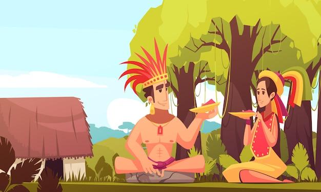 Maya family background Free Vector