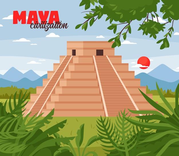Maya pyramids doodle background Vettore gratuito