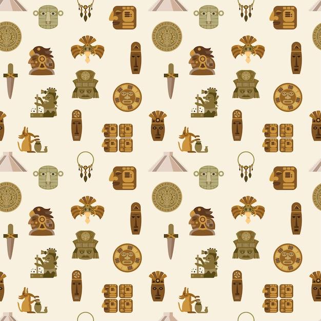 Maya seamless pattern Vettore gratuito