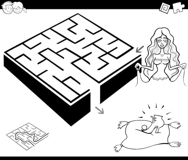 Maze activity game with cinderella Premium Vector