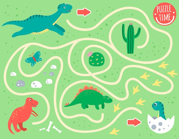 Maze for children. preschool activity with dinosaur. puzzle game with diplodocus, t-rex, baby dino. cute funny smiling characters. Premium Vector