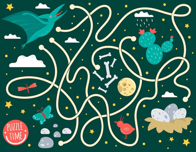 Maze for children. preschool activity with dinosaur. puzzle game with pterodactyl, clouds, eggs in nest, bones, butterfly, bird, moon, star. cute funny smiling characters. Premium Vector