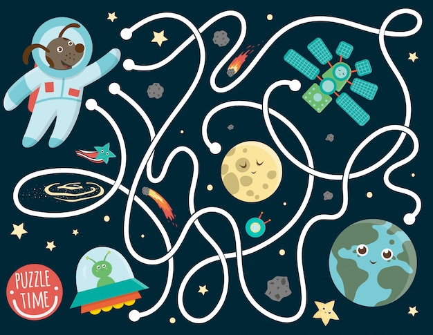 Maze for children. preschool space activity. puzzle game with the earth, astronaut, moon, alien, star, space ship. cute funny smiling characters. Premium Vector