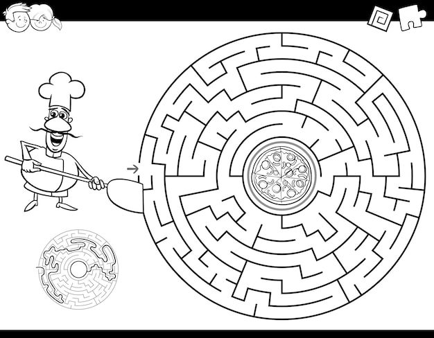 Maze color book with chef and pizza Premium Vector