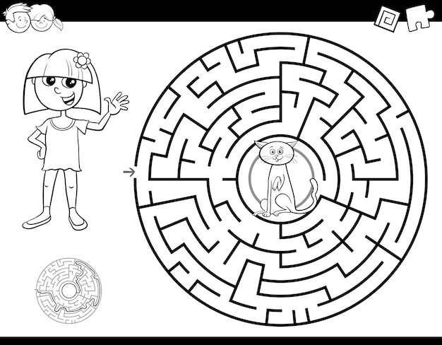 Maze color book with girl and cat Premium Vector
