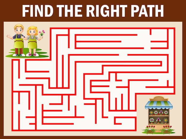 Maze farmers games find their way to the flower shop Premium Vector