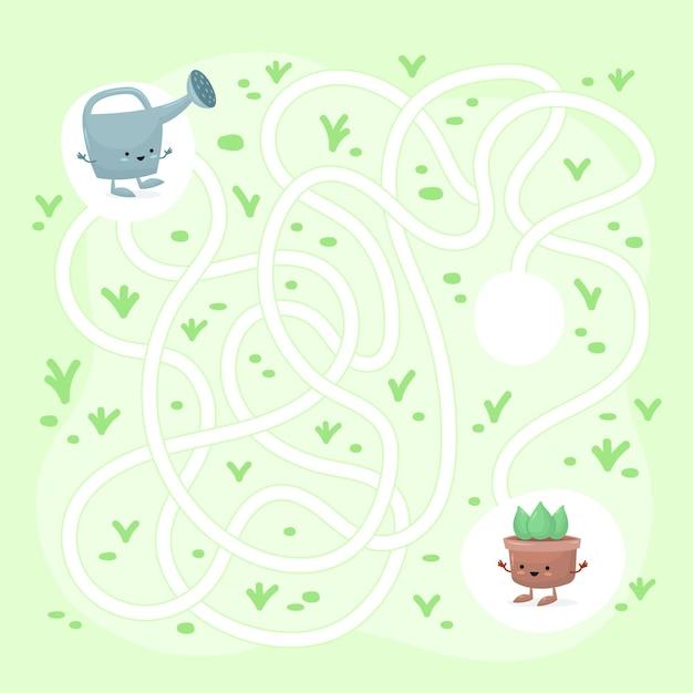 Лабиринт для детей шаблон Бесплатные векторы