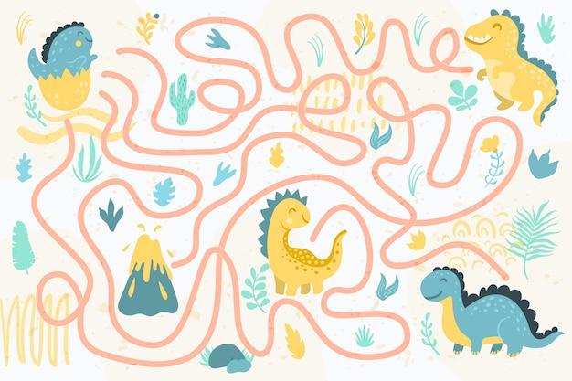Лабиринт для детей с динозаврами Бесплатные векторы