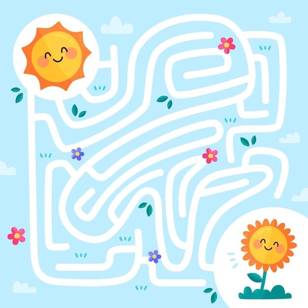 Детский лабиринт с солнцем и растением Бесплатные векторы