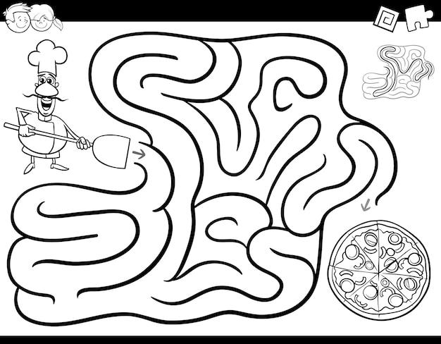 Лабиринт игра-раскраска с шеф-поваром и пиццей Premium векторы