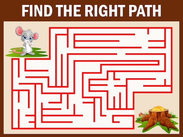 Maze game find a mouse way to cheese Premium Vector