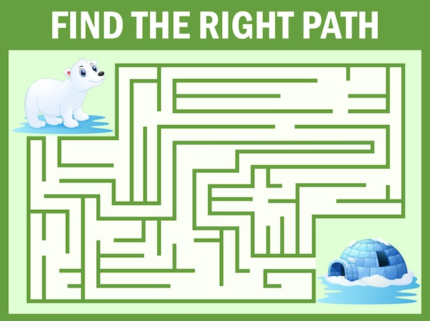 Maze game find polar bear walk away to igloos Premium Vector