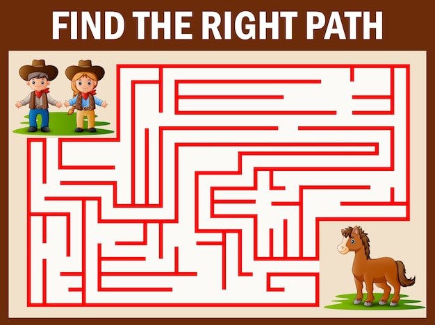 Maze game finds the cowboy and cowgirl way get to horse Premium Vector
