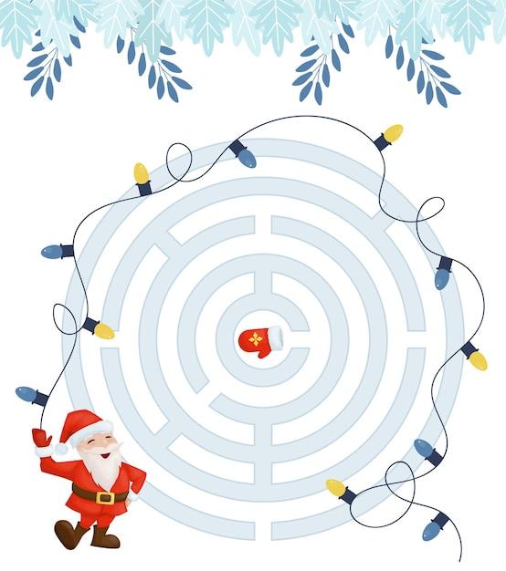 Лабиринт игра для детей домашнего обучения рождества. Premium векторы