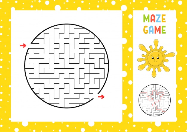 Лабиринт. игра для детей. забавный лабиринт. рабочий лист развития образования. Premium векторы