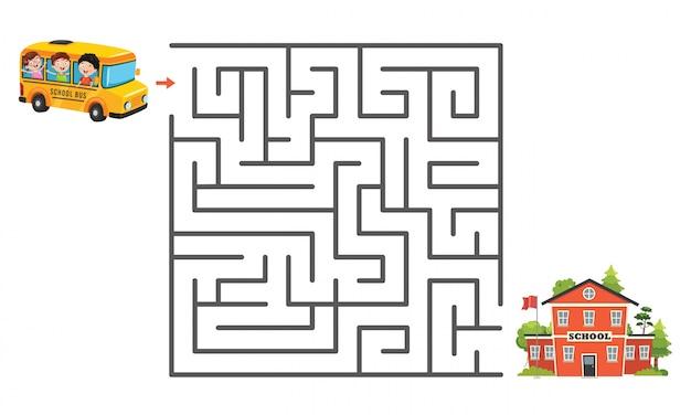 子供のための迷路ゲームイラスト プレミアムベクター