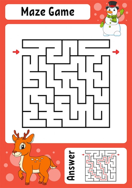 Maze. game for kids. funny labyrinth. education developing worksheet. activity page. puzzle for children. cute cartoon style. Premium Vector