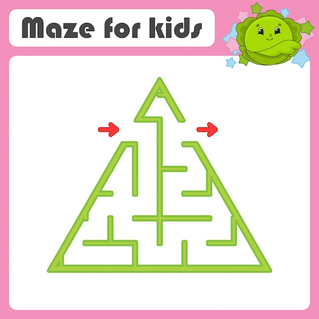 Maze. game for kids. funny labyrinth. education developing worksheet. activity page. Premium Vector