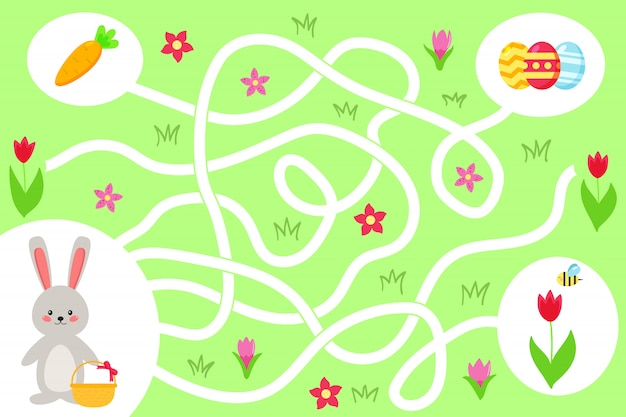 Maze game for preschool kids. help the kawaii bunny find right way to the easter eggs. spring flowers and carrot. vector illustration. Premium Vector
