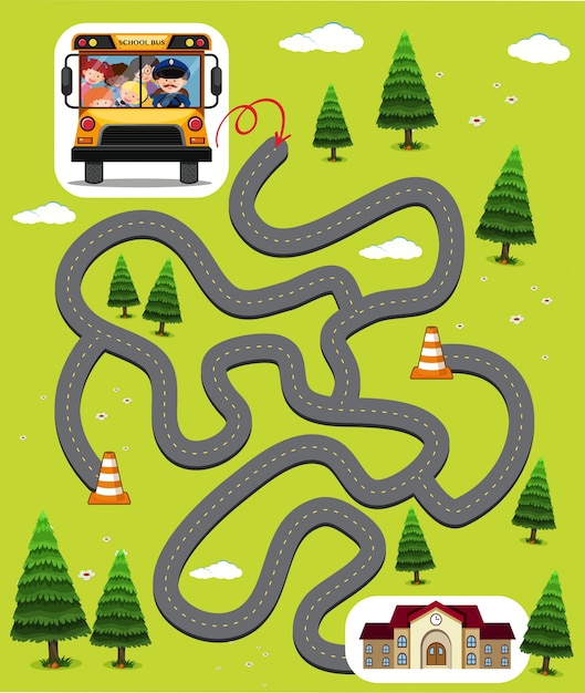 Maze Game Template With Kids In School Bus