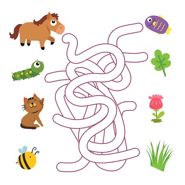 미로 게임 벡터 디자인, 게임 벡터 디자인을 일치하는 동물 프리미엄 벡터