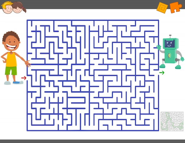 Maze game with cartoon boy and toy robot Premium Vector