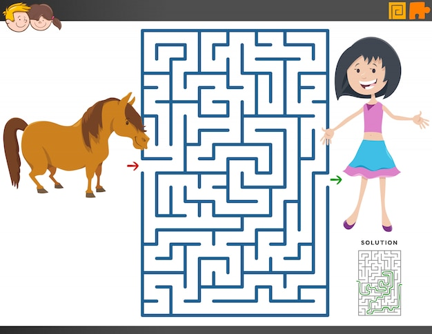 Maze game with cartoon girl and pony horse Premium Vector