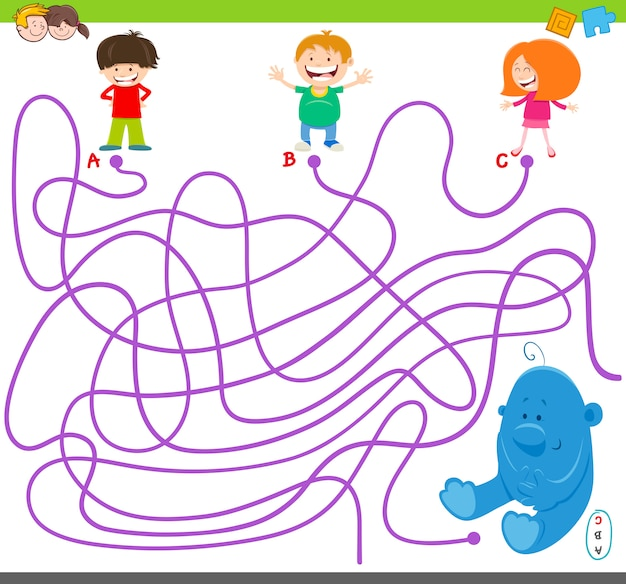 Maze game with kids and plush toy Premium Vector