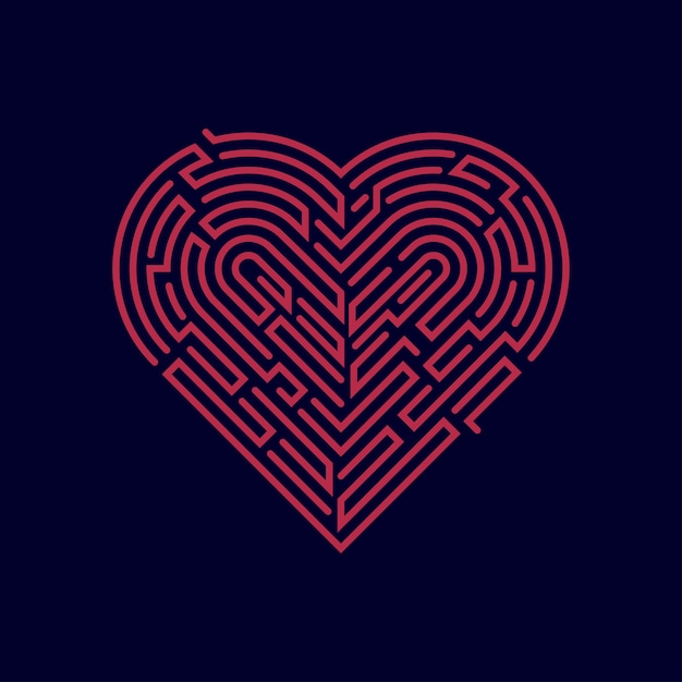 Maze heart Premium Vector