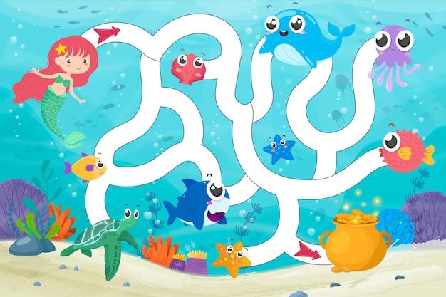 Illustrazione del labirinto per bambini Vettore gratuito