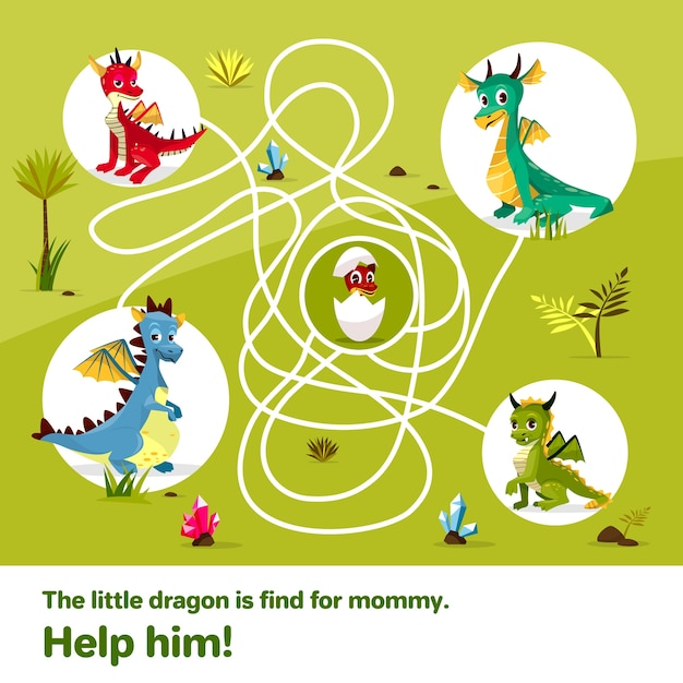 Maze labyrinth children game. Cartoon dragons, help find way to egg  Free Vector