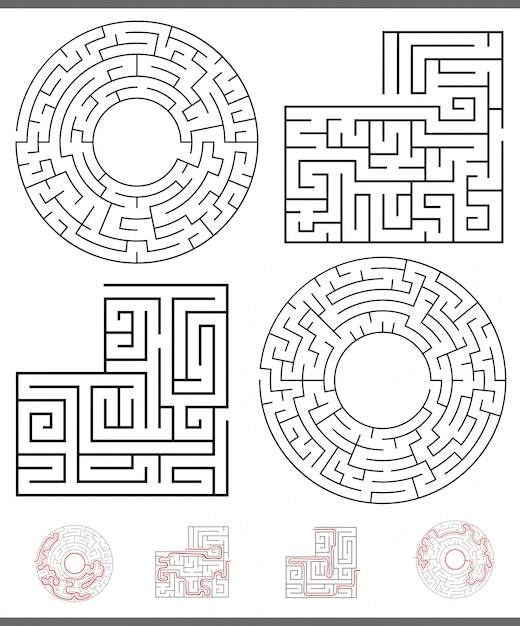 Maze leisure game graphics set with lines Premium Vector