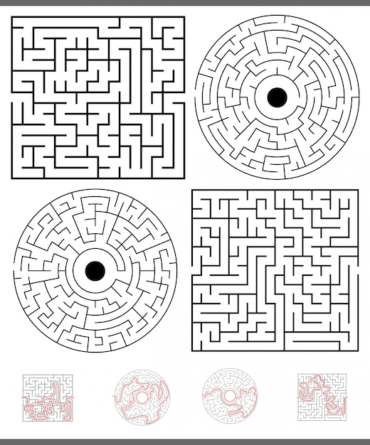 Maze leisure game set with solutions Premium Vector