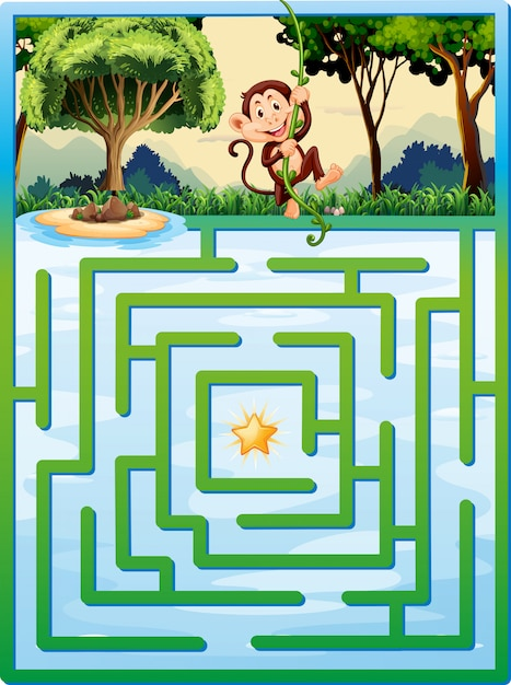 Maze puzzle with monkey in the jungle Free Vector