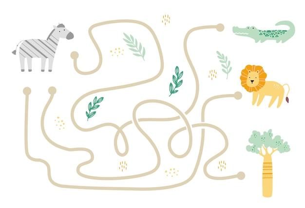 Лабиринт с милым африканским животным для детей. детский лабиринт. иллюстрация умственной деятельности. Premium векторы