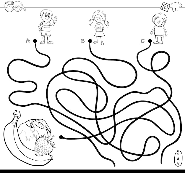 Maze with kids and fruits coloring book Vector | Premium Download