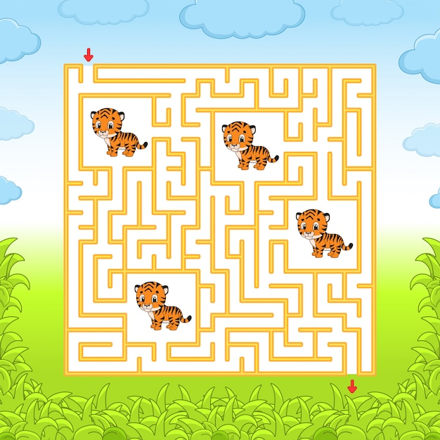 Maze with tigers Premium Vector