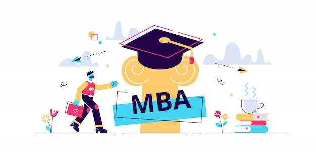 Premium Vector Mba Illustration Flat Tiny Master Of Business Administration Person Concept Education Management Strategy For Student Knowledge Growth Graduation Hat As Academical Learning And Wisdom Symbol